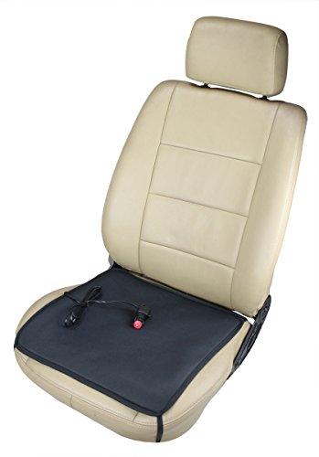 ObboMed SH-4050C/SH-4050F 12V 24W Tragbares Beheizbares Auto Sitzkissen mit Patentiert Zigarettenanzünderstecker und sicheren Befestigungshaken für Fahrzeuge; Schwarz - 43 x 43 cm
