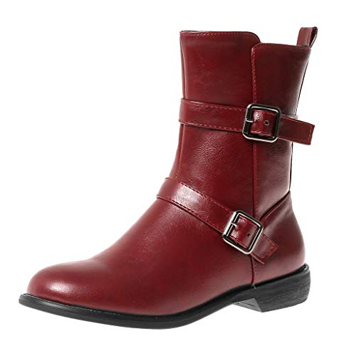 Yowablo Stiefel Frauen Mode Reine Farbe Runde Zehen Reißverschluss Stiefel Square Heels Vintage (39,Wein)