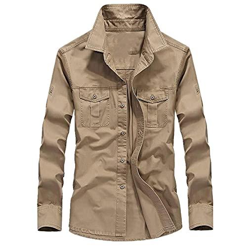 Camisa de hombre transpirable otoño hombres manga larga camisa de algodón puro deportes senderismo