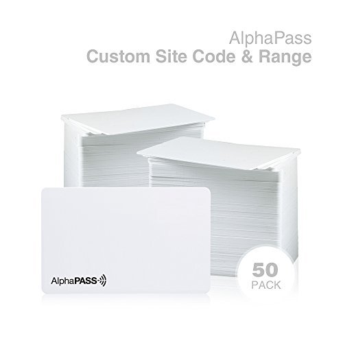 Same Day Custom Programmed AlphaPass PVC Proximity Card for Access Control. Replaces HID 1386 ISOProx II Cards. Standard 26 bit H10301 Format. Choose Your Facility Code & Range. (50 Pack)