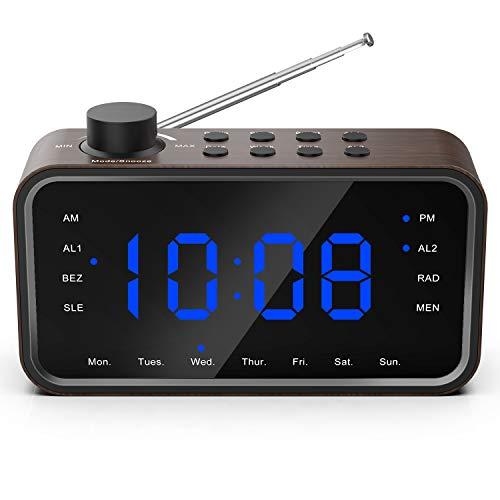 Reloj Despertador Digital Retro,ROCKSEED Radio Reloj Clásico de Grano de Madera Radio Despertador,Pantalla Grande,Alarma Doble,Configuración de Brillo,Volumen Ajustable,Batería de Respaldo,12/24H
