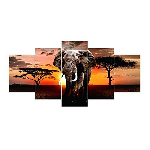 Broadroot Tiger Elefant Pferd 5D DIY Vollbohrer Diamant Malerei 5-Bilder Kombination Kits Handwerk Kreuzstich Stickerei Home Decor Geschenk (02) (Elefant 02)