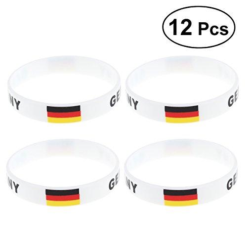 YeahiBaby Silikon Armbänder WM Flagge Fahne Deutschland Land Armband Fanartikel Fussball 2018 WM 12 Stücke Germany