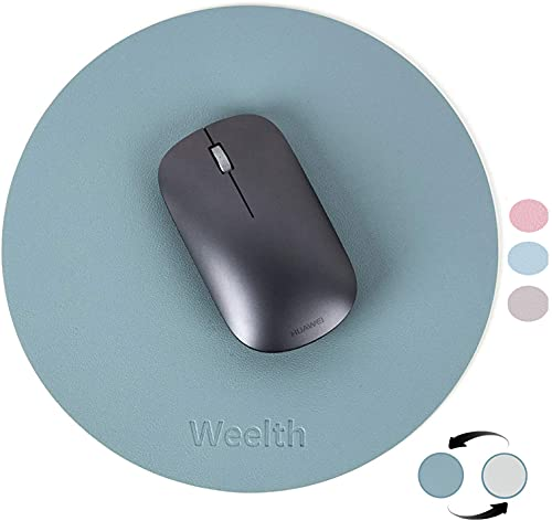 Weelth Tappetino Mouse, Tappetino per Mouse Rotondo in Pelle Impermeabile, Mouse Pad 220x220x3mm Tappetini Mouse Piccolo per Gaming, Ufficio, Laptop,Double-Sided