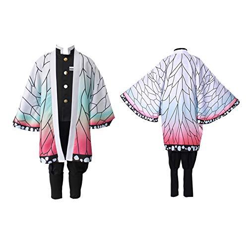 Deciduous Kinder Cosplay Kostüm Japanischer Dämon Slayer Anime Charakter Kochou Shinobu Anzug Kimono Uniform Mantel Für Kinder Jungen Mädchen Halloween Carnival Party Outfits,150