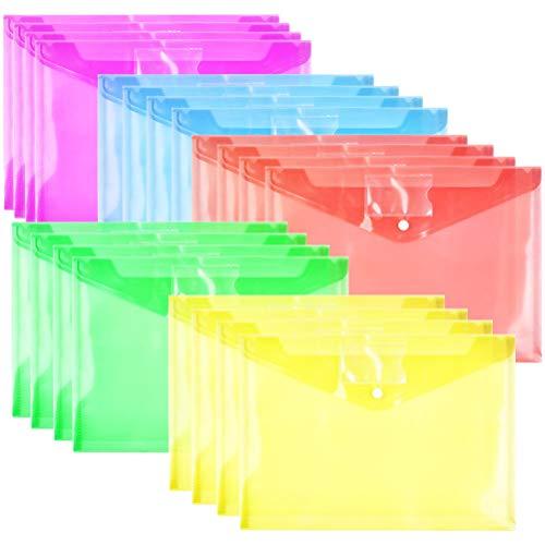 YOTINO A4-20 piezas Bolsillos para documentos A4 Carpeta con bolsillo para tarjetas de visita Bolsillo para documentos bolsillo transparente
