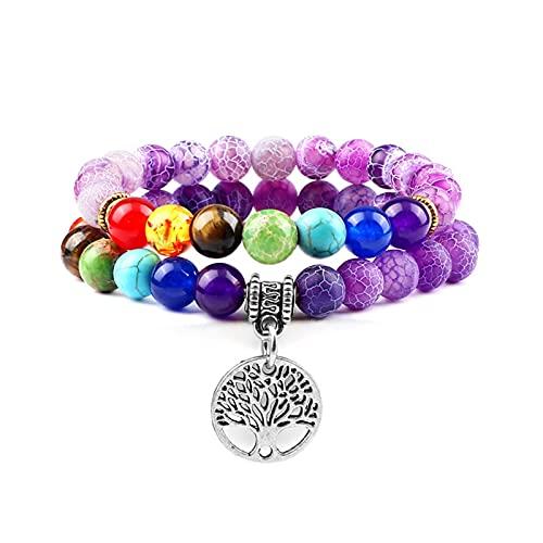JIAQ 2 unids/Set 7 Chakra Pulsera Árbol de la Vida Reiki Natural Tiger Eye Lava Stone Beads Pulseras for Mujeres Hombres Curación de la joyería de oración (Metal Color : Purple-Silver)