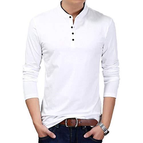 Fashion Gallery Mens Full Sleeves Cotton Tshirt|Mandarin Collar Tshirts for Men|Regular Fit Cotton Tshirt for Men White