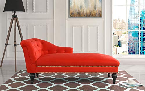 Chaise Lounge Indoor Chair Tufted Velvet Fabric, Modern Long Lounger for Office or Living Room (Red)
