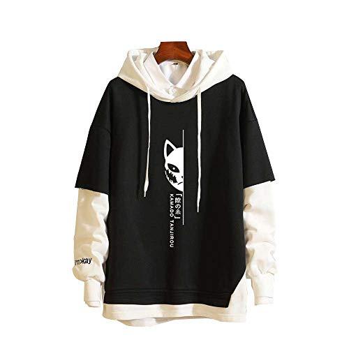 Felpa con Cappuccio Hoodie Streetwear Anime Demon Slayer Uomo Pullover Donna Cotone Maniche Lunghe Maglione Cappotto Giacca M