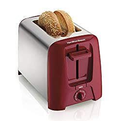 professional Hamilton Beach Toaster, Ultra Wide 2 Slice Slot, Color Switch, Toast Function, Automatic Switch Off, Red (22623)