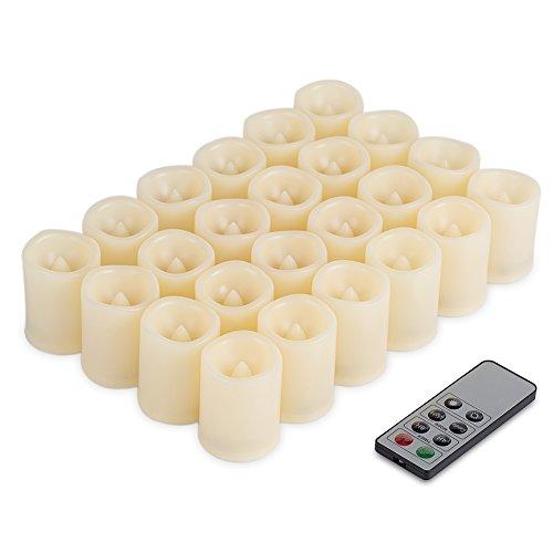 Kohree velas LED con pilas – Juego de 24 Splendide velas LED sin llamas con mando a distancia y temporizador
