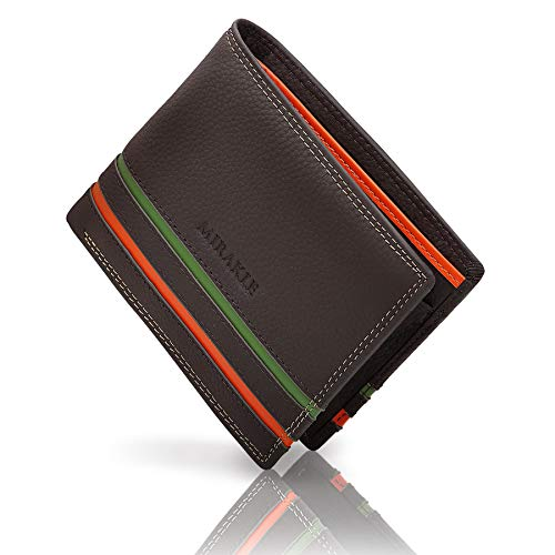Mirakle Carteras Hombre, Cartera RFID Piel Hombre para 9 Tarjetas, 2 Compartimentos para Billeteras, 1 Bolsillo para Monedas, Cartera Delgada con Rayas Naranja y Verde de Moda, Marrón Oscuro