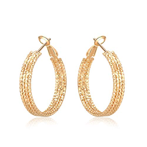 Yumay-9ct Gold Filled Creole Diamond Cut Hoop Earrings for Womens and Girls(30mm)