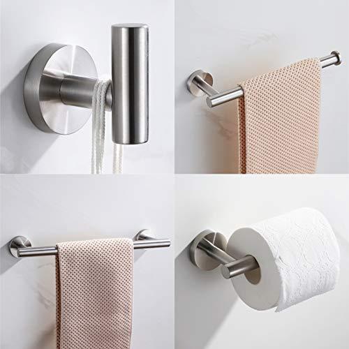 VELIMAX SUS304 Stainless Steel 4-Piece Bathroom Hardware Accessories Set Wall Mounted Towel Bar Brushed Nickel Towel Rack Set - Robe Hook, Toilet Paper Holder, Towel Ring, 16' Towel Bar