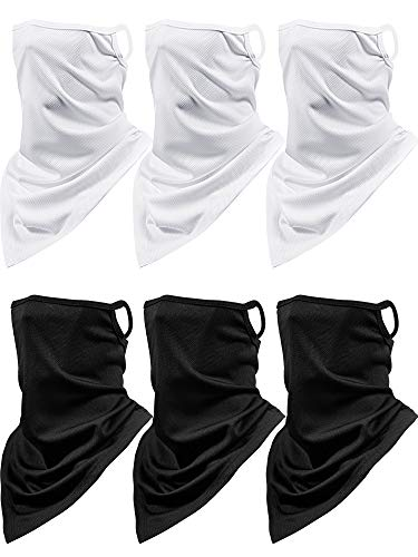 6 Pieces Summer Face Cover Neck Gaiter UV Protection Face Bandana Scarf Unisex Breathable Balaclava with Ear Loop (Black, White)
