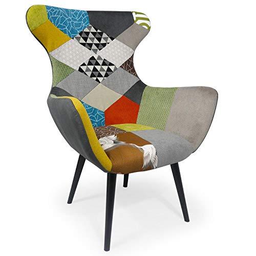 Menzzo Geo Fauteuil, Tissu, Multicolore, Dimensions: L73 x P72 x H99 cm