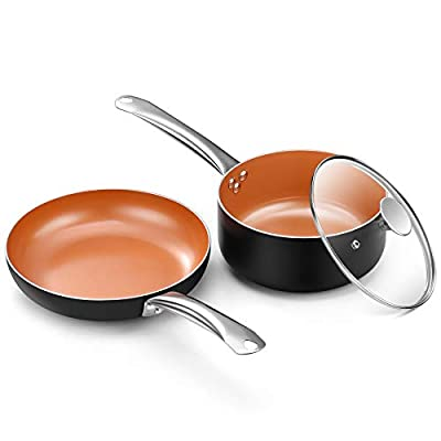 """Copper Nonstick Cookware Set-10.5"""" Frying Pan and 3QT Saucepan Set with All Stove Tops Compatible, Oven-Safe, Ceramic Coating, PFOA-free, Stainless Steel Handle, for Stew Boil Fry and Saute, 3Pcs"""