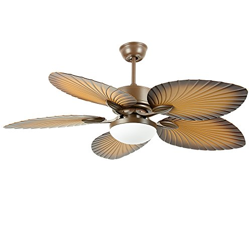 Tropical Palm Ceiling Fan, Five Palm Leaf Blades With LED Light, New Bronze (52in)