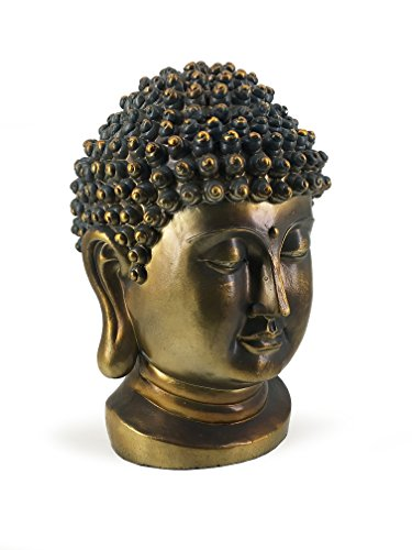 Moycor tête de Bouddha, Résine, Bronze Vieilli et Turquoise, 35 x 31 x 50 cm