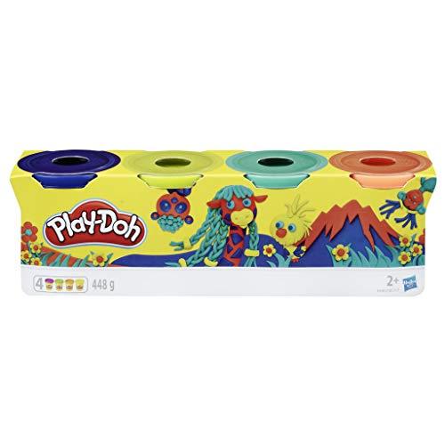 Play-Doh Set di 4 Plastilina per Giochi Fantasiosi e Creativi, Colore Blu Scuro, Verde Lime, Turchese e Arancione, E4867ES0