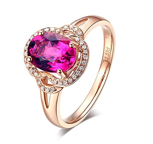 Amody Anillos de Mujer de Oro Rosa, Anillo de Boda Mujer 1.52CT Turmalina con Diamante Tamaño 13