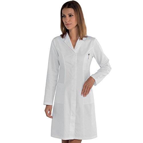Damen-Kittel für Ärzte Apotheker Kliniken aus Baumwolle klassisch Bianco DE 38(Herstellergröße 44)