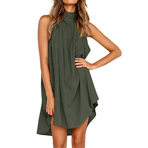 Frauen Sommer Baumwolle Leinen Kleid LASltd Damen Neckholder Ärmelloses Kleid Solid Casual Kleid Abend Party Kleid Chic Beach Dress Loose...