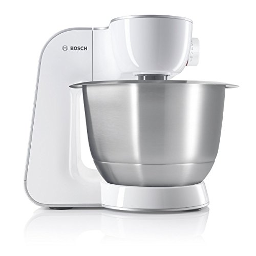 Bosch MUM5 CreationLine Küchenmaschine MUM542710DE, vielseitig einsetzbar, große Edelstahl-Schüssel (3,9l), diverses Zubeöhr wie Fleischwolf, Würfelschneider, 900 W, weiß/silber