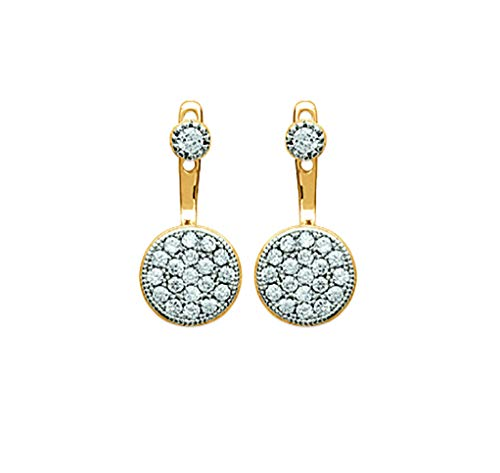 Tata Gisèle Lobe Earrings in 18 Carat Gold Plated with Round Cubic Zirconia - Free Velvet Bag