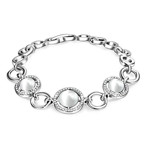AnazoZ Bracelet Femme Fantaisie Or Blanc CZ Rond Link Chain Cat's Eye Stone