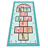 """Hopscotch Rug 63""""x31, Hop and Count Game Rug with Colorful Alphabet and Animals Design Anti-Slip Kids Play Mat, Soft Floor Area Rug & Carpet Playroom Bedroom Living Room"""