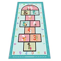 Measures 31.5 * 63 inches. Durable and Skid-Proof: Made of high quality polyester and wool, soft to step on. Features skid-proof backing, doesn't slip around when jumping, suitable for all floor surfaces and works for both indoor and outdoor use. The...