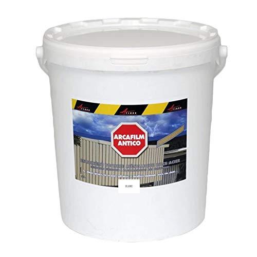 Arcáfilm - Producto de sellado de techo metálico, bandeja de acero, pintura revestida oxidada, resistente a la corrosión y a la intemperie, color blanco, 20 kg
