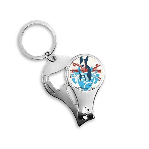 Graffiti Straat Cultuur Rode Blauwe Stier Terrier Ontwerp Art Illustratie Patroon Metalen Sleutelhanger Ring Multifunctionele Nagel Clippers Fles Opener Auto Sleutelhanger Beste Charm Gift