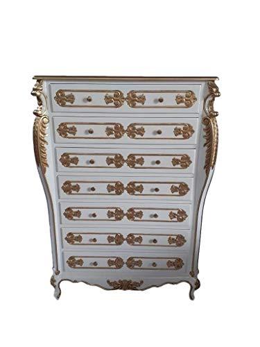 Antik königliche Louis XIV. Louises Barock Rokoko Stilmöbel Kommode Sideboard Kommodenschrank Sideboardschrank Farbe: weiß mit Gold Höhe140cm