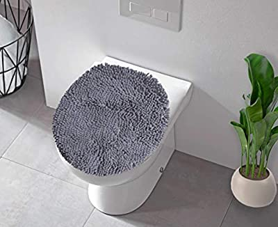 LuxUrux Toilet Lid Cover, Extra-Soft Plush Seat Cloud Washable Shaggy Microfiber Standard Toilet Lid Covers for Bathroom Machine Wash & Dry. (19 x 21 inches, Dark Gray)