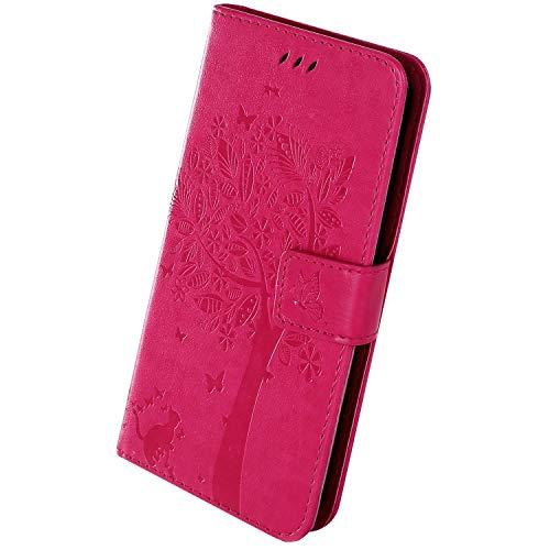 Herbests Kompatibel mit Samsung Galaxy A2 Core Handyhülle Leder Tasche Retro Muster Schmetterling Baum Katze Leder Hülle Brieftasche Flip Case Handytasche Wallet Magnet Stand,Rose Rot