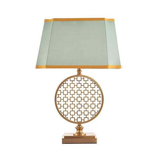 SXNYLY Nuevo Chino clásico Dormitorio lámpara de cabecera Cama de Bronce LampLED lámpara Decorativa de Lino Pantallas de iluminación Moderno Minimalista Sala de Estar Creativa lámpara de Mesa