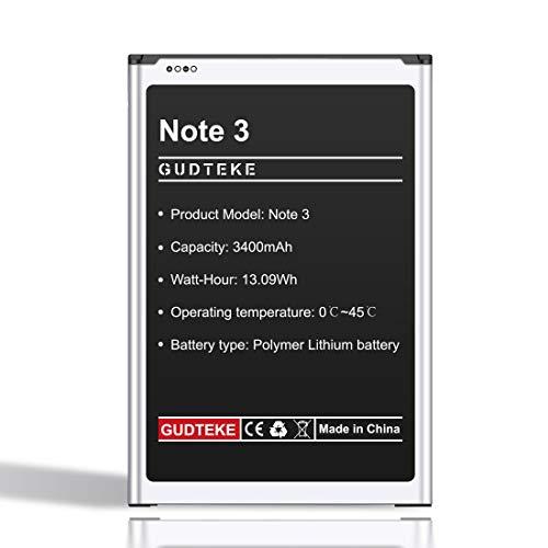 GUDTEKE Batteria per Samsung Galaxy Note 3 Batteria ricaricabile agli ioni di litio da 3400 mAh aggiornata Batteria interna Samsung note 3