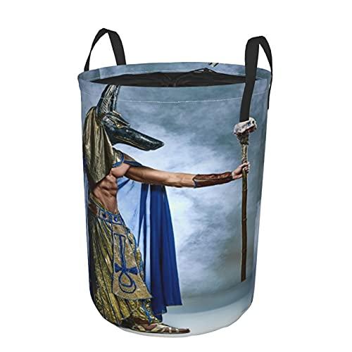 Cesta de almacenamiento, antiguo faraón egipcio con una cubierta de fondo de niebla de Anubis, cesto de lavandería grande plegable con asas 21.6'x16.5'