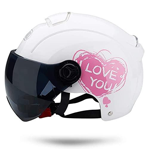 Casco Moto Abierto, Retro Cascos Moto Half Helmet Media Casco de Protección con Visera, ECE Homologado Casco Moto Jet para Scooter Mofa Crash (Color : White, Size : (50-64cm))