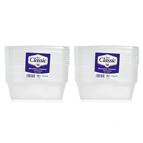 Lot de 20 boîtes alimentaires en plastique avec couvercles - Passent au micro-ondes, au congélateur et au lave-vaisselle - Durables, Transparentes