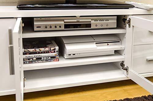 【ガラス観音扉、引出し2杯、扉収納付き】TVラックテレビボード[52インチまでのテレビ対応](ホワイト/WH)