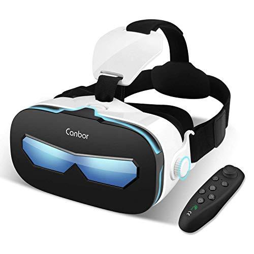 CanborVRゴーグルVRヘッドセット4-6.3インチスマホ対応iPhoneSamsung3D動画ゲームメガネ外観Bluetoothコントローラリモコン…