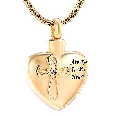 Urnen voor as halsketting as hanger urne kruis in hart vuurbestating sieraden voor as hanger altijd in mijn hart medaillon ketting as