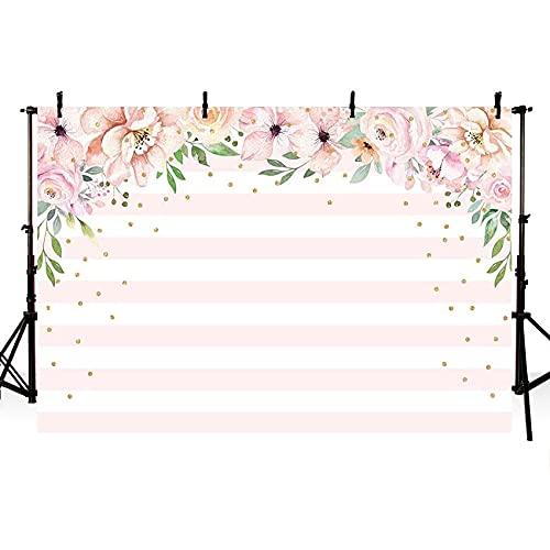 Fondo de fotografía de Rayas Doradas y Blancas Hermosas Flores Rosadas telón de Fondo de Fiesta de cumpleaños de niña Photocall A1 10x10ft / 3x3m