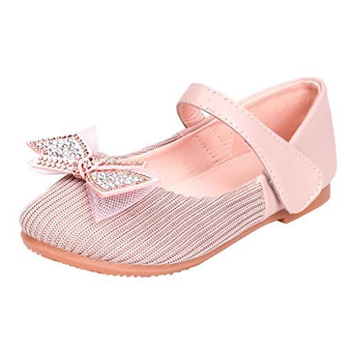 Zapatos Planos de Suelas de Velcro Suave Zapatos de Vestir para NiñAs Zapatos de Princesa Arco Sandalias Diamantes De ImitacióN Bebé NiñA Verano Zapatillas Disfraz de Princesa NiñA Zapatilla de Baile