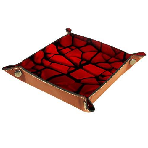 ATOMO Bandeja de almacenamiento de cuero rojo dividido azulejos clave joyería moneda catchall Sundries organizador cabecera pequeña bandeja clave teléfono joyería almacenamiento