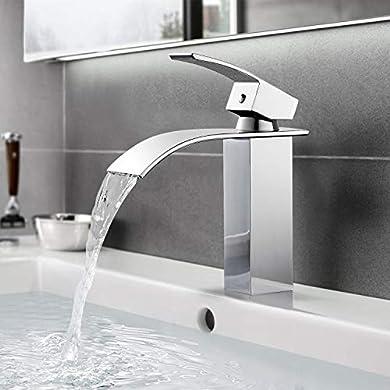 Foto di BONADE Rubinetto Bagno Lavabo Cascata Rubinetto per Lavabo Monocomando Rubinetto del bagno Elegante Miscelatore acqua calda e fredda, in Ottone Cromata